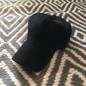 Solid Black Adjustable Baseball Hat.